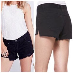 Free People Sharkbite Jean Shorts Black Distressed